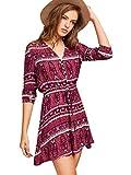 Milumia Women's Aztec Print Drawstring Shirtwaist Dress Medium Burgundy