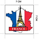 France Paris National Flag and Map Sticker for customization of favorite items such as suitcases