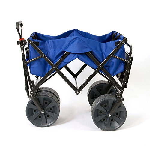 Mac Sports Heavy Duty Collapsible Folding All Terrain Utility Wagon Beach Cart with Table - Blue (Bbq Made Ready Islands)