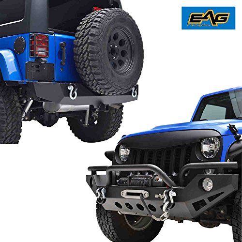 EAG Rock Crawler Front + Rear Bumper Combo With OE Fog Light Hole D-Rings 2'' Hitch Receiver for 07-18 Jeep Wrangler JK - 2' Front Receiver Hitch