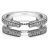 0.29 ct. Diamonds (G-H,I2-I3) Cathedral Style Ring Guard with Millgrained Edges and Filigree Design in Sterling Silver (1/3 ct. twt.)