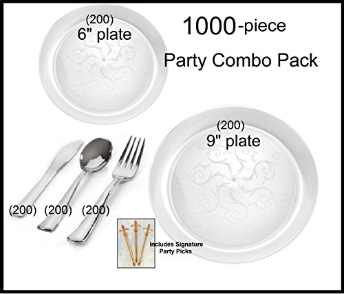 Party Combo Pack - 1000-piece Premium Plastic CLEAR Plates and Silver Cutlery w/ Signature Party Picks SERVES 200