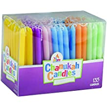 Colorful Chanukah Candles - 135 Count Bulk Family Pack - Standard Size Candle Fits Most Menorahs - Premium Quality - Assorted Colors - by Ner Mitzvah
