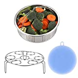 AISFA vegetable Steamer Basket Rack for Instant Pot Accessories Stainless Steel Set 3 Pieces for pressure cooker accessories - Egg Steamer Rack Fits Instant Pot 5, 6, 8qt