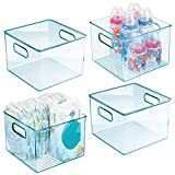 mDesign Deep Storage Organizer Container - for Kids/Child Supplies in Kitchen, Pantry, Nursery, Bedroom, Playroom - Holds Snacks, Bottles, Baby Food, Diapers, Wipes, Toys - 8' Cube, 4 Pack - Sea Blue