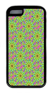 IMARTCASE iPhone 5C Case, Yellow Psychedelic Starburst Fractal Background Seamless Durable Case Cover for Apple iPhone 5C TPU Black