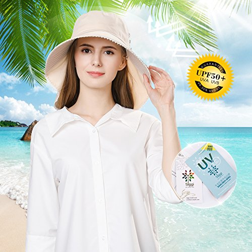 UV Protection Sun Hats Women Summer Gardening Fishing Hiking Travel Shade Hat Wide Brim Foldable Cotton Black Siggi by SiggiHat (Image #3)