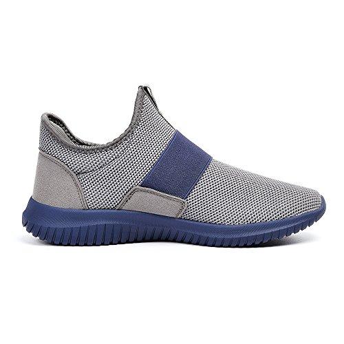 Al Zapatos Deportivos Running Sin Zapatillas Aire Azul QANSI Slip Libre Gris Hombres on Cordones XA0Ywx