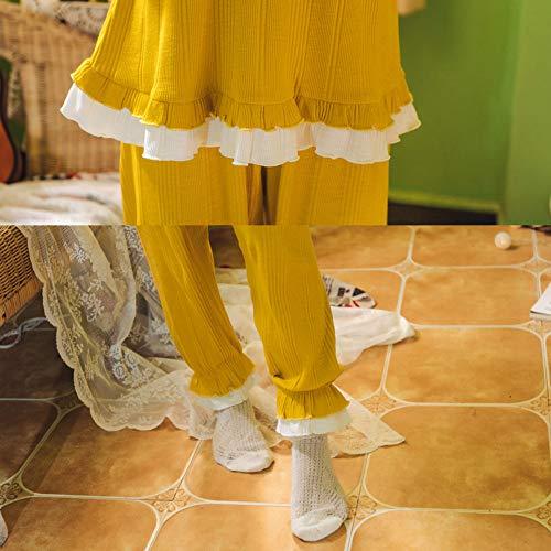 Dos Piezas Lindo Larga Dulce El Hogar Manga De Para Pijama Nuevo Yellow Mmllse Encaje 7qBgPP