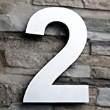 QT Modern House Number - LARGE 8 Inch - Brushed Stainless Steel (Number 2 Two), Floating Appearance, Easy to install and made of solid 304