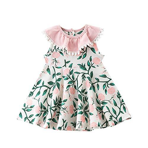 Baby Peuter Meisje Jurk Groene Bladeren Bloemen Gedrukt Mouwloze Prinses Jurk Met Kanten Kraag Zomerjurk Katoenen…