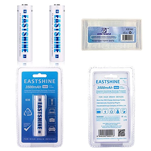 18650 Battery 3500mAh, EASTSHINE E35 Button Top 12.9Wh 3.7V Protected Rechargeable Li-ion Batteries 2Packs for High Drain Devices. (Size: Length: 69.3mm /2.72 in Diameter: 18.7 mm /0.73 in).
