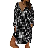 YOcheerful Loose Dress for Women, Sales! Womens Loose Polka Dot Print Sundress Spring Long Sleeve Plus Size Mini Dress Black