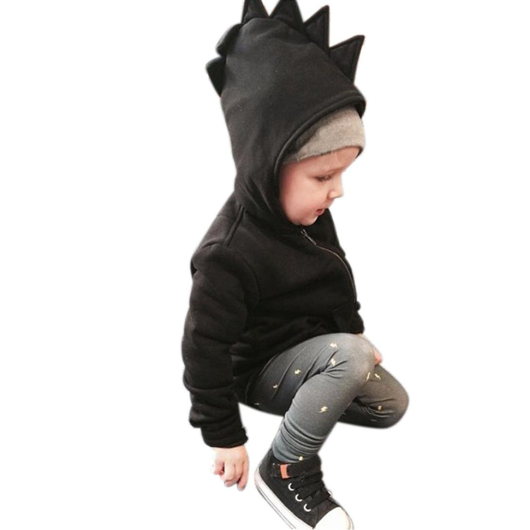 Leegor Child Kids Cute Dinosaur Outerwear Zipper Jacket Hooded Coat Windbreaker Leegor-032948