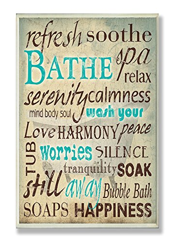 Stupell Home Décor Bathe Wash Your Worries Typography Bathroom Wall Plaque, 10 x 0.5 x 15, Proudly Made in USA by The Stupell Home Decor Collection