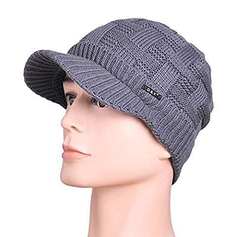 JF-Sunshine Men's Winter Double Layer Thick Warm Knit Hat Cap with Brim JMH14 (Gray)