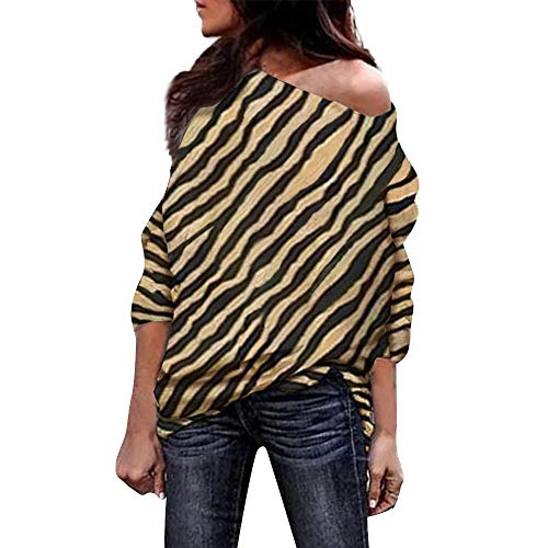 Ladies Tops,Kulywon New Women Zebra Striped Print Off Shoulder Blouses Long Sleeve Tunic Tops(S/US 4,Yellow)