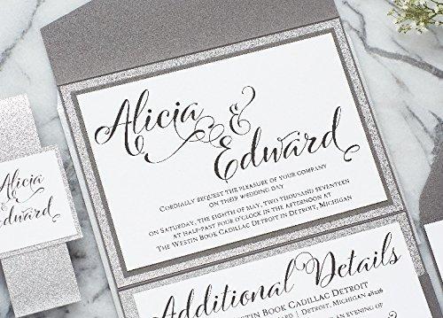 Personalized Extravagant Wedding Invitation with Glitter, Pocketfold Wedding Suite, Alicia Sample