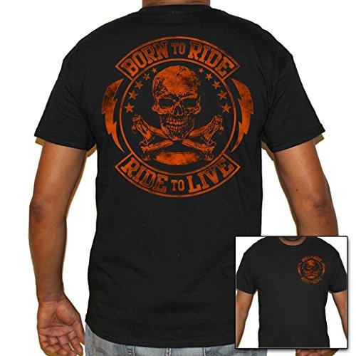 Motorcycle T-shirt Ride (Biker Life USA Men's Born to Ride / Ride to Live T-Shirt)