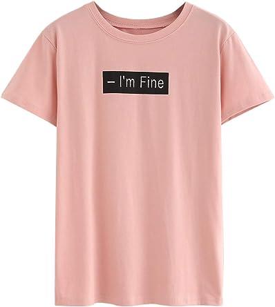 Zantt Women Short Sleeve One-Shoulder Letter Printed Casual T-Shirt Top Blouse