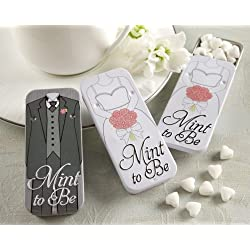 Mint to Be Bride and Groom Slide Mint Tins with Heart Mints - White (Set of 32)