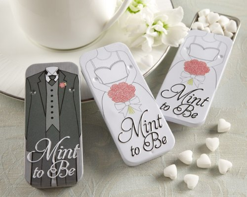 Bride Favor Tin - Mint to Be Bride and Groom Slide Mint Tins with Heart Mints - Black (Set of 48)
