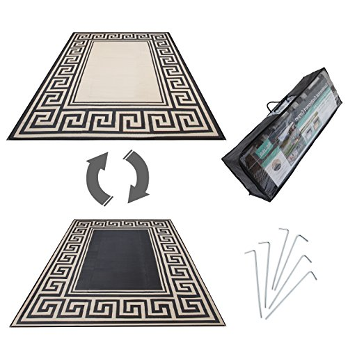 R.v. Patio Mat Awning Mat Outdoor Leisure Mat New Grecian Complete Kit (Khaki,9x12)