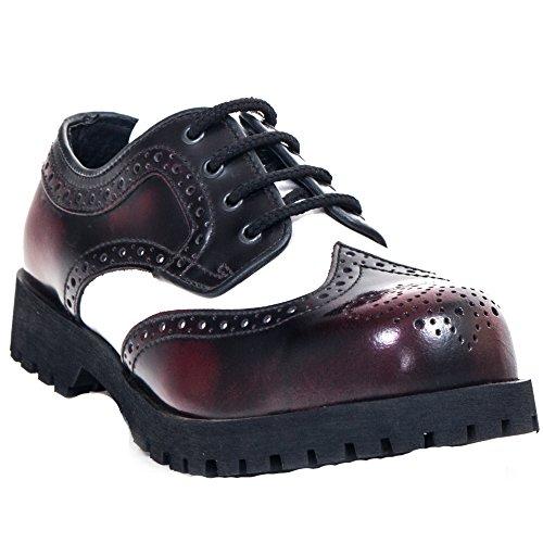 Boots and Braces Brogue Burgundy White Shoes 4-Hole Rangers Cap DPNDAYPTZf