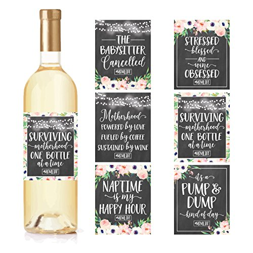 6 Chalk Mommy's First Milestone Stickers or Wine Labels, Great Baby Shower Gift Ideas For Mom To Be, Funny Mom's First Moments Having New Baby Girl or Boy, 1st Date Night With Dad & More]()