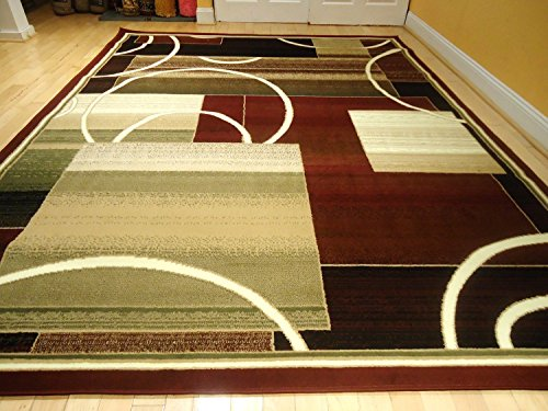 Contemporary rug multi colored area rugs 8x11 rug red rug - Living room area rugs contemporary ...