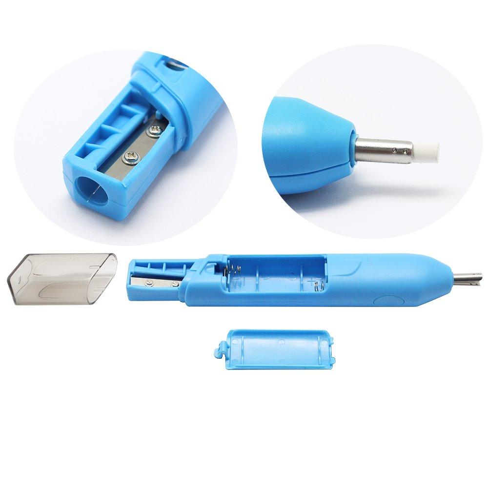 gommine di ricambio 20/pezzi - 1 spazzolino per gomma Gomma per cancellare elettrica Meetory batteria non inclusa gomma per cancellare portatile con temperamatite 2/in 1