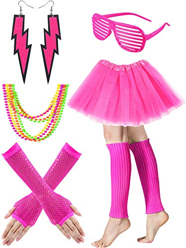 Tatuo Women's 80s Costume Accessories Set, Adult Tutu Skirt, Leg Warmers, Fishnet Gloves, Earrings Necklace Shutter Glass (Rose Red) ()