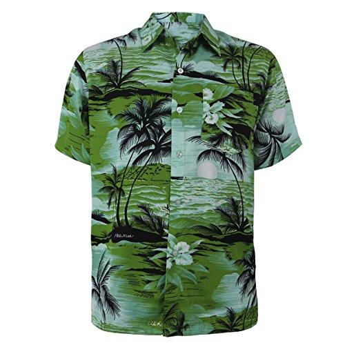 Evrimas Mens Hawaiian Shirt Short Sleeve Palm Tree Print Beach Aloha Party Holiday Casual Button Down Tops (Green, Small) - Scenic Print Hawaiian Shirt