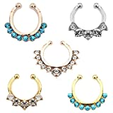 Aoyoho Pack of 5 Clip On Jewelry Fake Septum Clicker Nose Ring Non Piercing