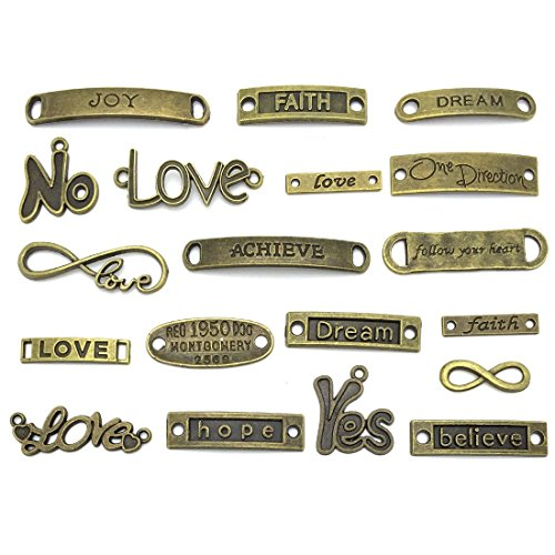 Inspirational Message Words Charm Pendants, JIALEEY Wholesale Bulk Lots Craft Supplies Mixed Beads Charms Pendants for Necklace Bracelet Jewelry Making and Crafting(Bronze) -