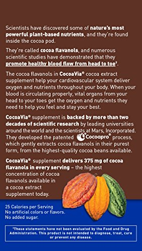 CocoaVia Brain  Heart Supplement Sweetened Dark Chocolate Flavor Powdered Mix 375mg Cocoa Flavanols