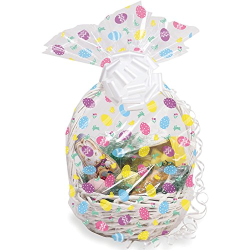 Party Central Club Pack of 12 White and Pink Decorative Easter Cello Egg Basket Bags 11""