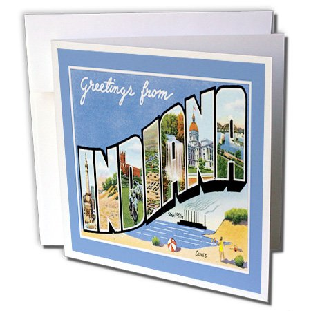Greetings from Indiana Scenic Postcard Reproduction - Greeting Card, 6 x 6 inches, single -