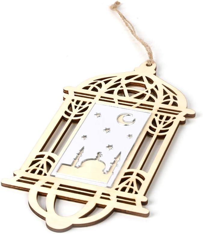 Hylotele Wooden Eid Mubarak Hanging Pendant DIY Crafts Ornament with Rope Festival Decoration