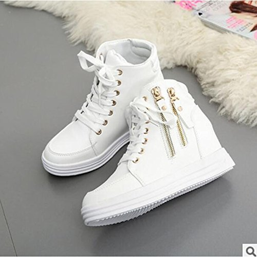 for tobillo puntera White de Mujer HSXZ cerrada Otoño negro plana Invierno Zapatos de botines Confort y PU Botas blanco botas casual Rq40qZ6xw