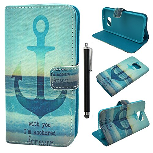 S6 Case,Samsung Galaxy S6 Cover,Qbily Printed Boat Helm Pattern Blue PU Leather Cases Covers Scratch-Resistant Soft Lining Inner Shell Back Cover with Magnetic Closure Buckle Credit ID Card Slot Pouch Stand Function Protective Case Cover for Smartphone Samsung Galaxy S6 with Black Stylus Pen - Printed Boat