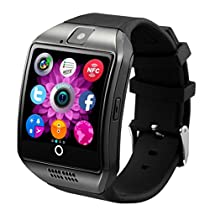 Iuhan® Fashion Bluetooth Smart Watch Curved surface Camera Support SIM Card For Smartphone (Black)