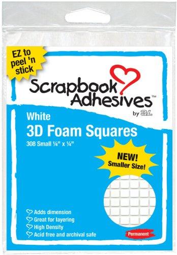 3d Foam Squares Whte .25