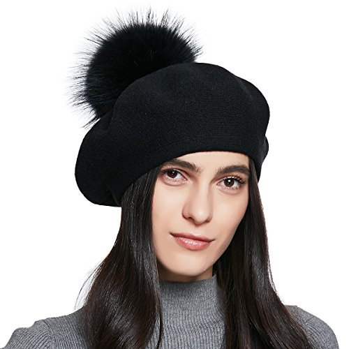 YINONIY Women's Knitted Cotton Beret Hat with Fur Pom Pom - Black