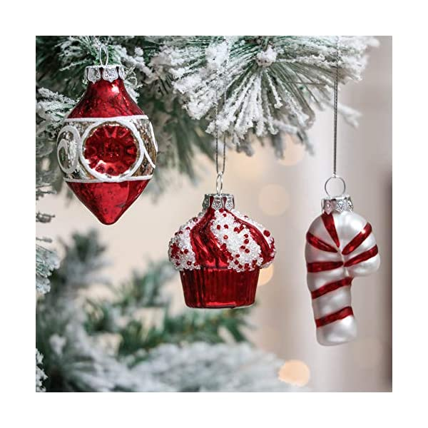 Valery Madelyn Palle di Natale Vetro Addobbi Natalizi Set, 16 Pezzi 6-8cm Traditional Red And White Palline di Natale Decoration for Addobbi Natalizi per Albero 4 spesavip