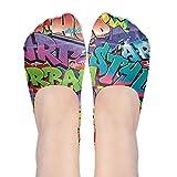 Colorful No Show Socks Women Graffiti Hip-hop Colorful Low Cut Boat Line Ankle Socks Women
