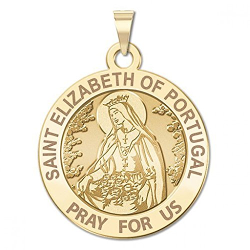 Gold Saint Elizabeth Medal - Saint Elizabeth of Portugal Round Religious Medal - 2/3 Inch Size of Dime, Solid 14K Yellow Gold