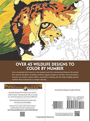 creative haven wildlife color by number coloring book diego jourdan pereira 9780486798561 books amazonca - Color By Number Coloring Books