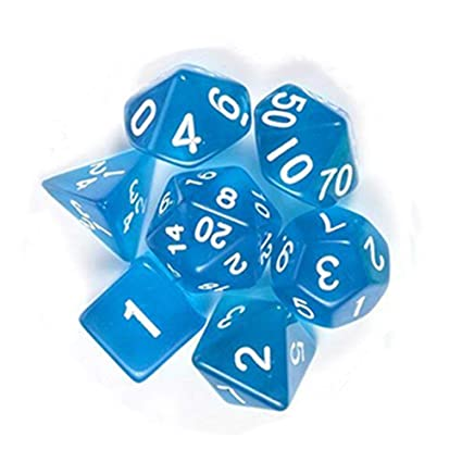 SaiDeng 7pcs Dice Set Translucent Polyhedral Craps Set for Dungeons Dragons Pathfinder D&D RPG (D4 D6 D8 D10 D12 D20 D%) Blue