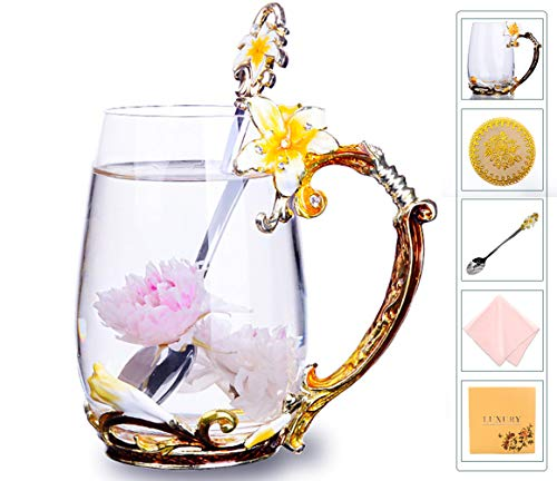 Flower Tea Cups, Coffee Mugs, Glass Mug with Spoon Set, Handmade Lily Mother's Day Gifts - Best Gift for Newlyweds Christmas New Year Anniversaries Parents Weddings Engagements Couples (13oz, Yellow) (Best Christmas Gifts For Your Parents)